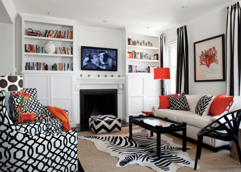 High Contrast White, Red And Black Living Room
