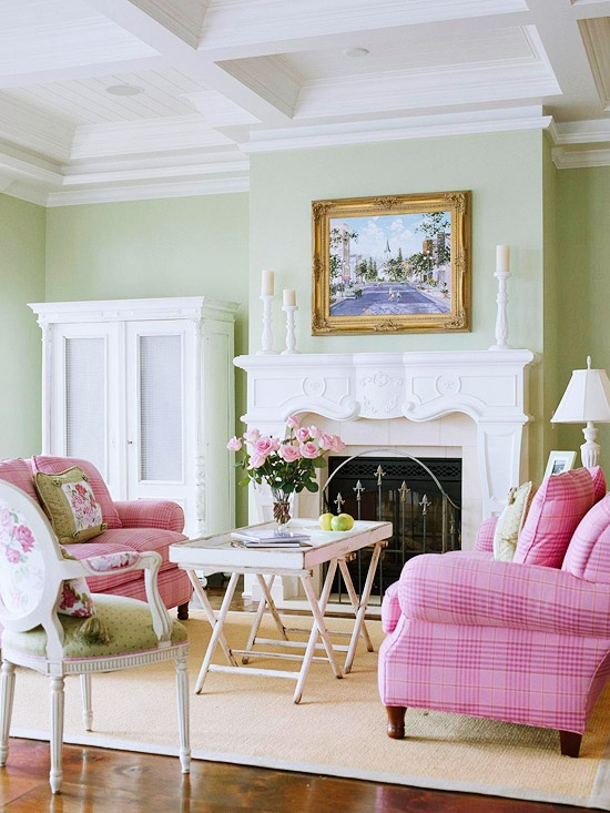 Pink Living Room Design: ROWE SPURLING PAINT COMPANY