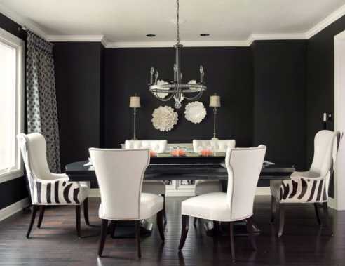 Fun Dining Room With Black Walls