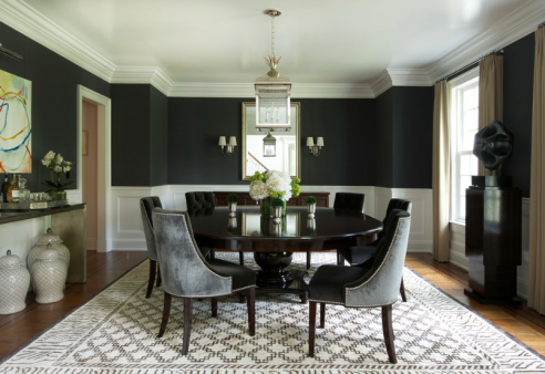 Black Walls and White Woodwork In Dining Room