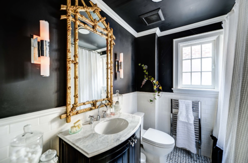 Dramatic Black Bathroom Walls and Ceiling