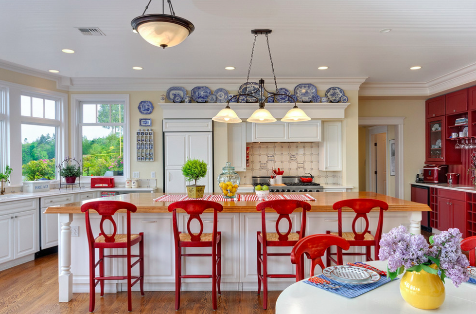 Red Stools And Blue Touches In Kitchen