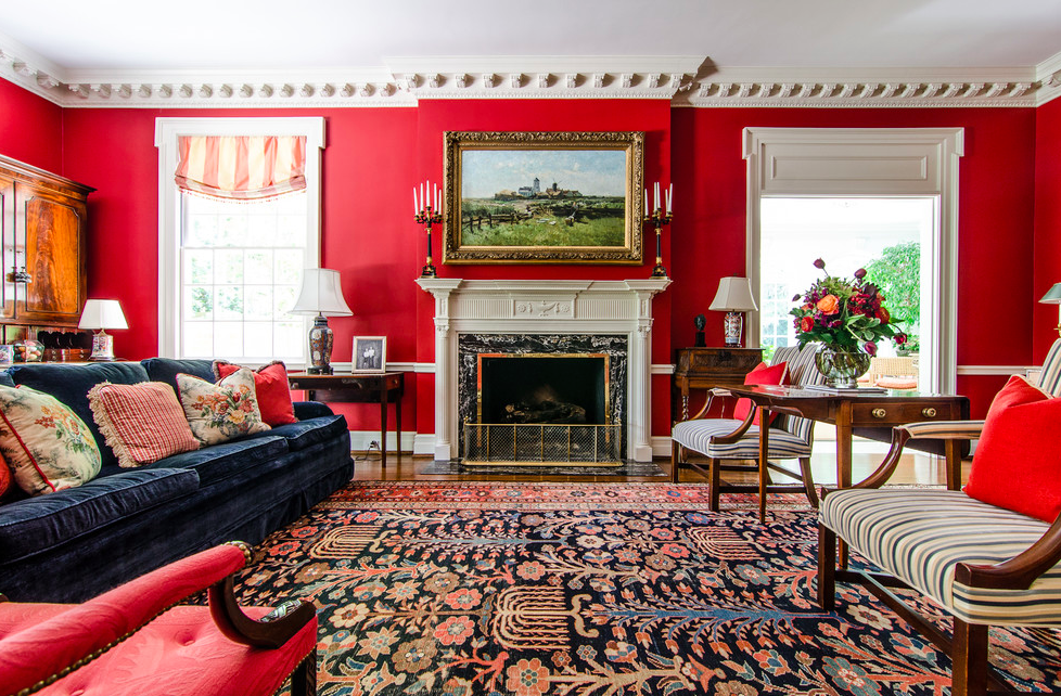 red living room, red interior, red walls, colorful living room, glamour living room, elegant living room, eclectic interior, pantone spring 2017, colorful interior. interior decorating with color