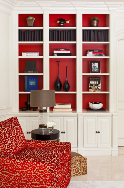 Bright Red Inside Creamy Built Ins
