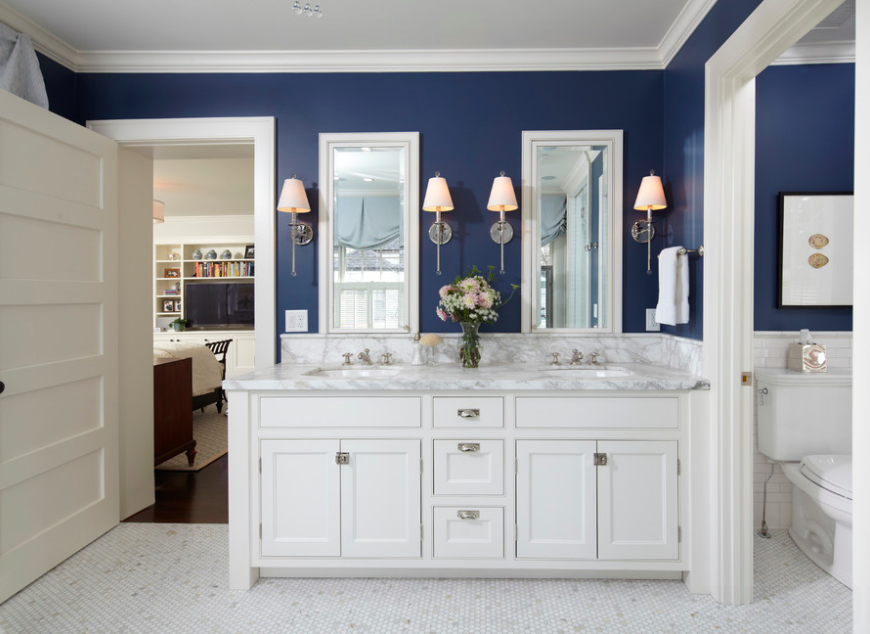301 moved permanently Navy blue and white bathroom