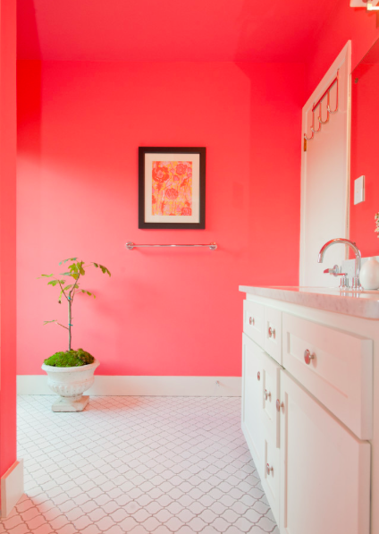Vibrant Coral Walls With Light Floor And Cabinets
