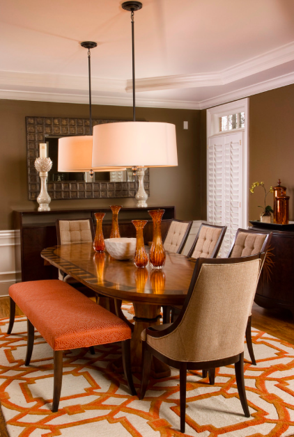 Warm And Cozy Brown Dining Room