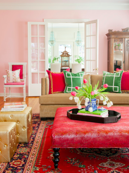 Pink Living Room With Oriental Touches