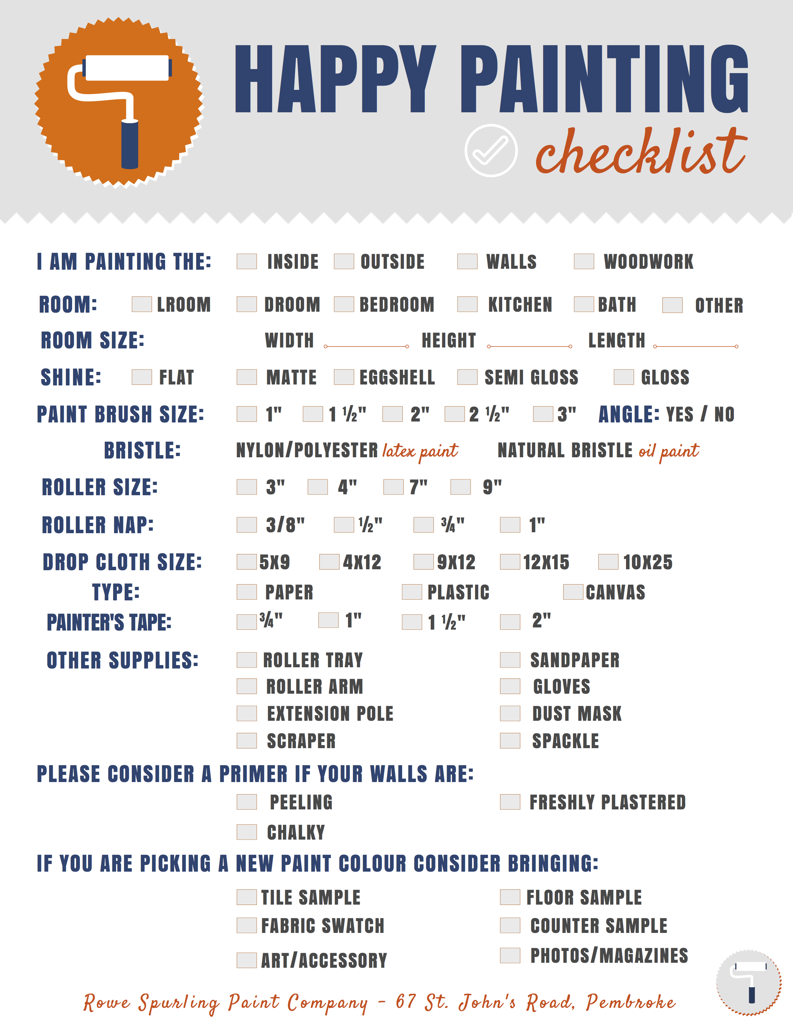 PAINTING CHECKLIST Be Prepared ROWE SPURLING PAINT COMPANY